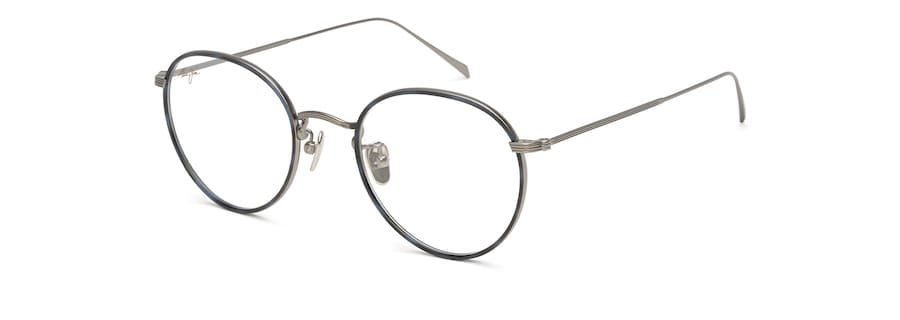 Gunmetal with Blue Tortoise Eye Rim MJO2417 angle view