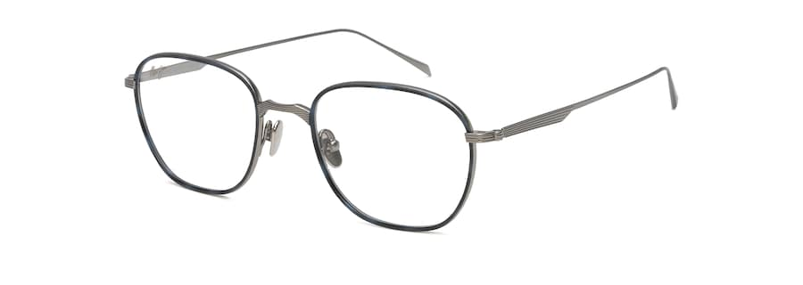 Gunmetal with Blue Tortoise Eye Rim MJO2418 angle view