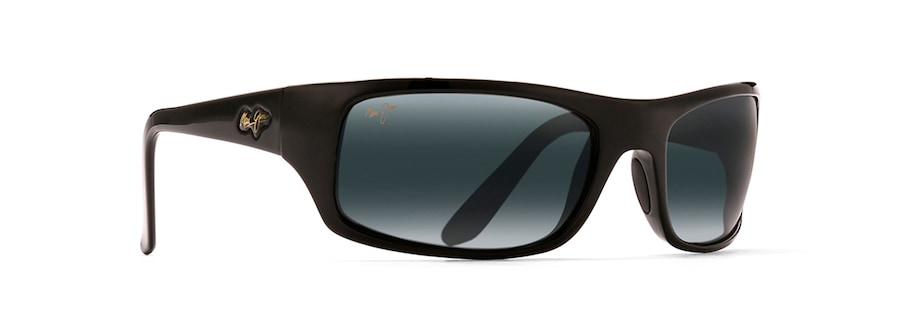d05cbd11a1b4 Maui Jim · Sunglasses · Wrap  PEAHI. Gloss Black PEAHI front view  Gloss  Black PEAHI angle view ...
