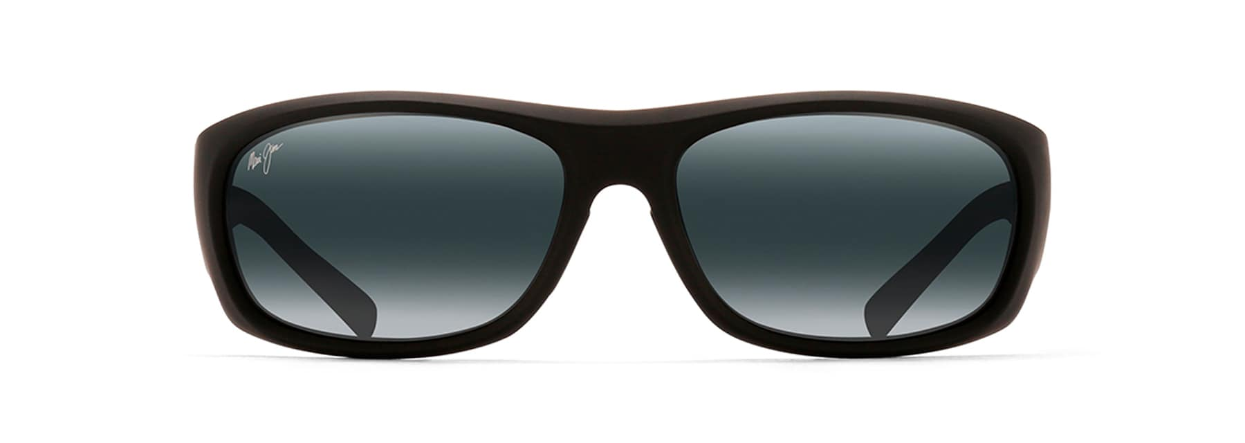 ikaika polarized sunglasses maui jim®matte black rubber ikaika front view