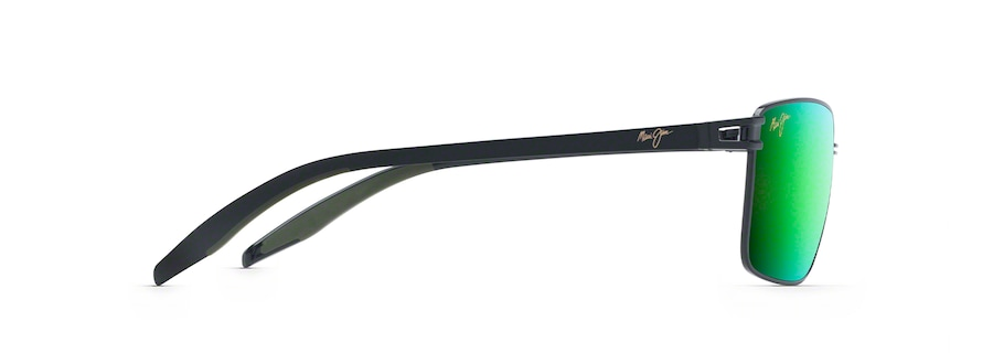 Black with Black Temples & Olive Green Rubber COVE PARK side view