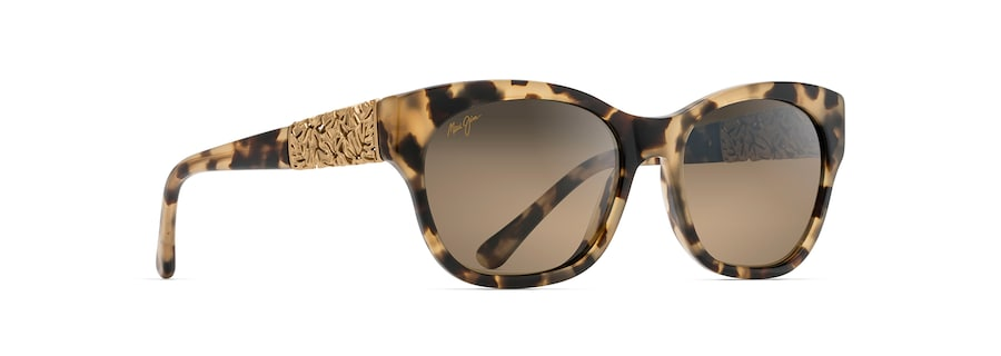 Honey Havana with 24K Yellow Gold MONSTERA LEAF angle view