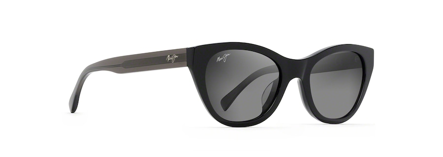 Black with Transparent Dark Grey Temples CAPRI quarter view