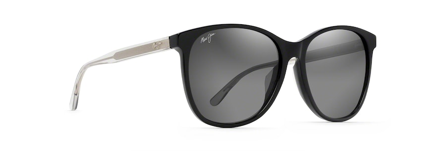 Black with Transparent Light Grey Temples ISOLA quarter view