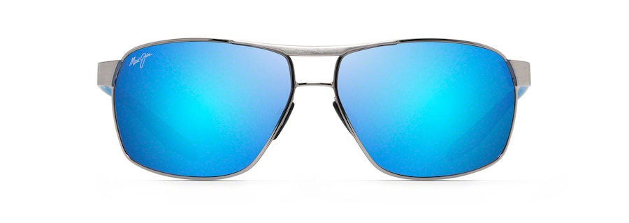 Chrome with Black and Blue Temples THE BIRD front view