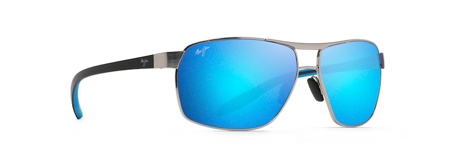 Chrome with Black and Blue Temples THE BIRD quarter view
